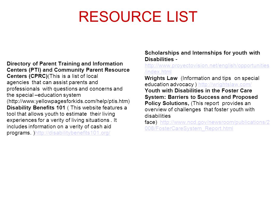 RESOURCE LIST Directory of Parent Training and Information Centers (PTI) and Community Parent Resource Centers (CPRC)(This is a list of local agencies