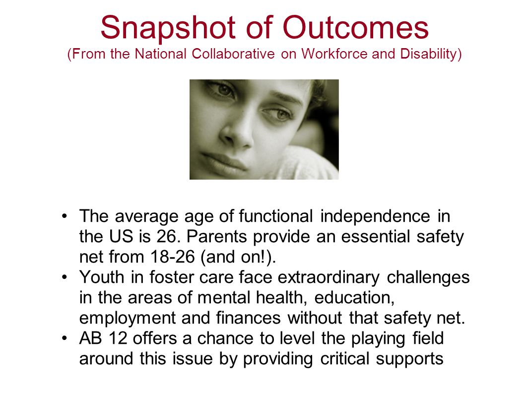 Snapshot of Outcomes (From the National Collaborative on Workforce and Disability) The average age of functional independence in the US is 26. Parents
