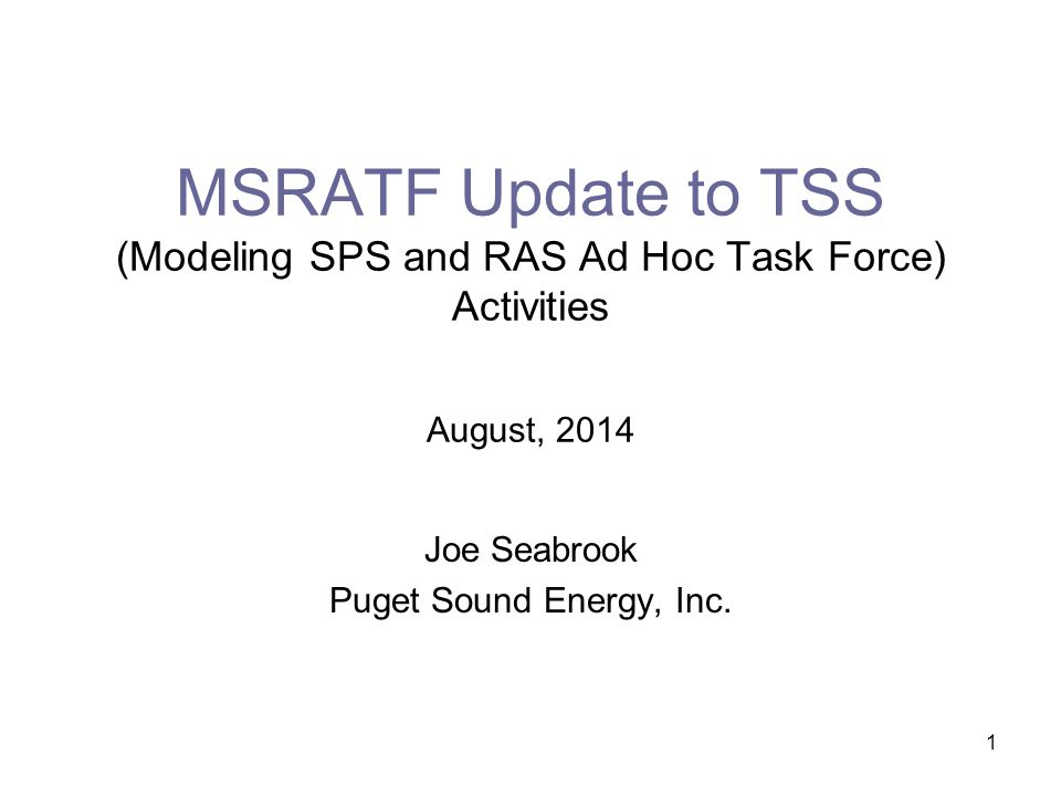 1 MSRATF Update to TSS (Modeling SPS and RAS Ad Hoc Task Force) Activities August, 2014 Joe Seabrook Puget Sound Energy, Inc.