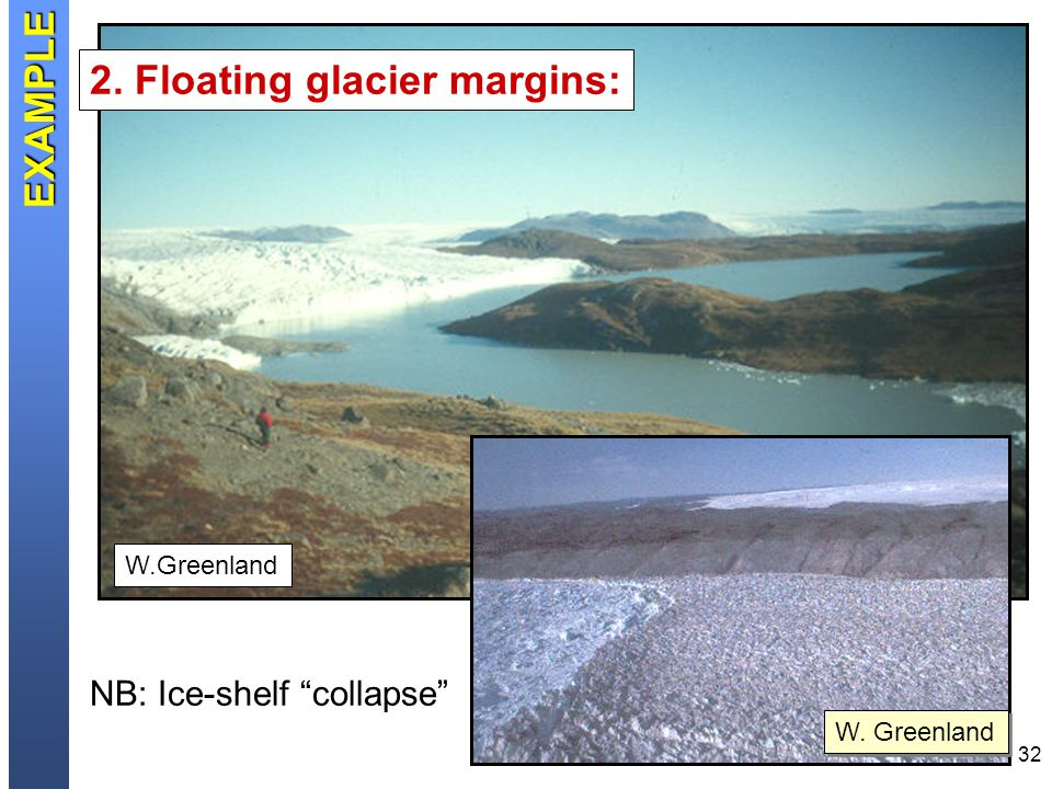 32 W. Greenland 2. Floating glacier margins: NB: Ice-shelf collapse EXAMPLE