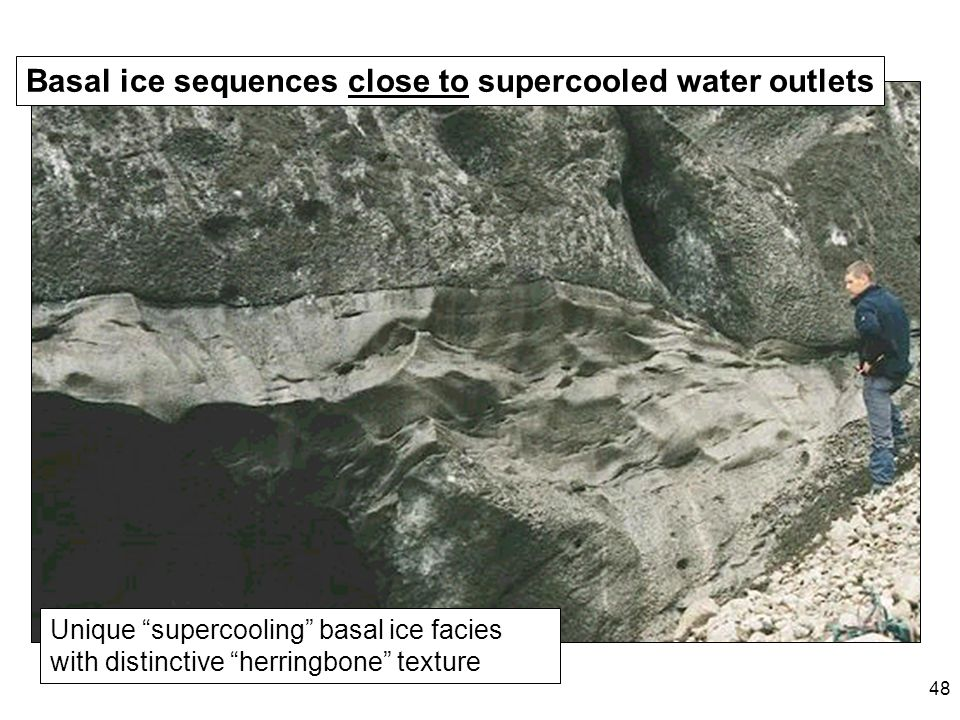 48 Unique supercooling basal ice facies with distinctive herringbone texture Basal ice sequences close to supercooled water outlets