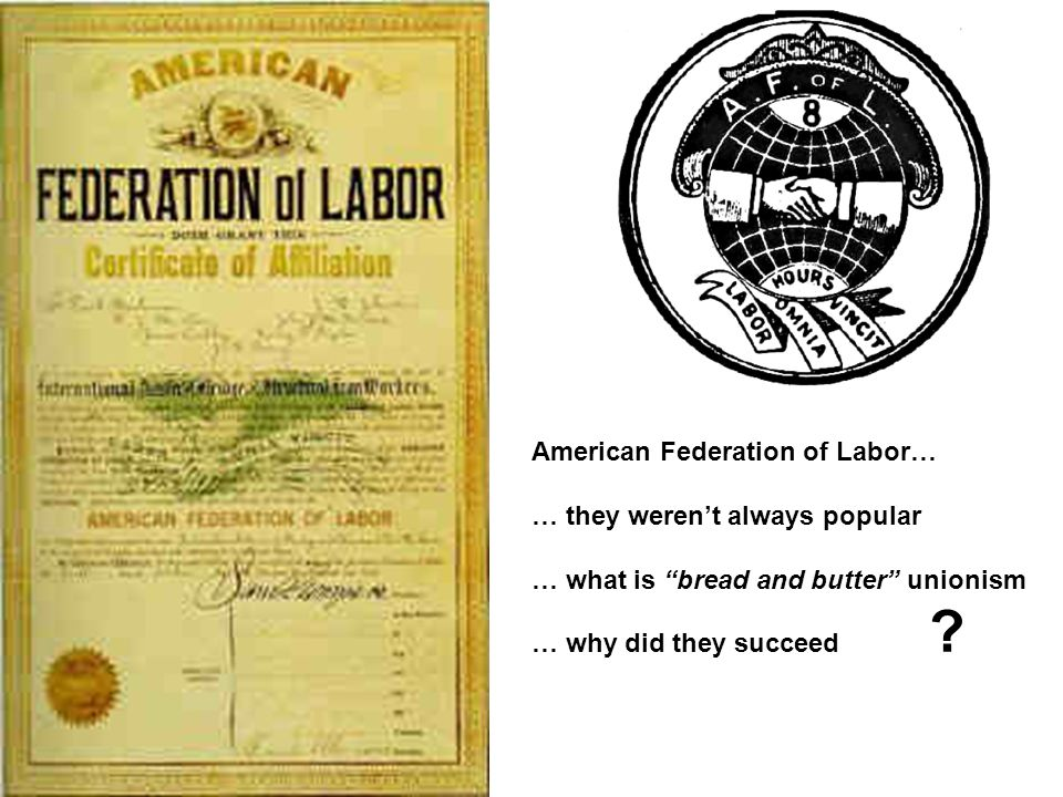 American Federation of Labor… … they weren't always popular … what is bread and butter unionism … why did they succeed