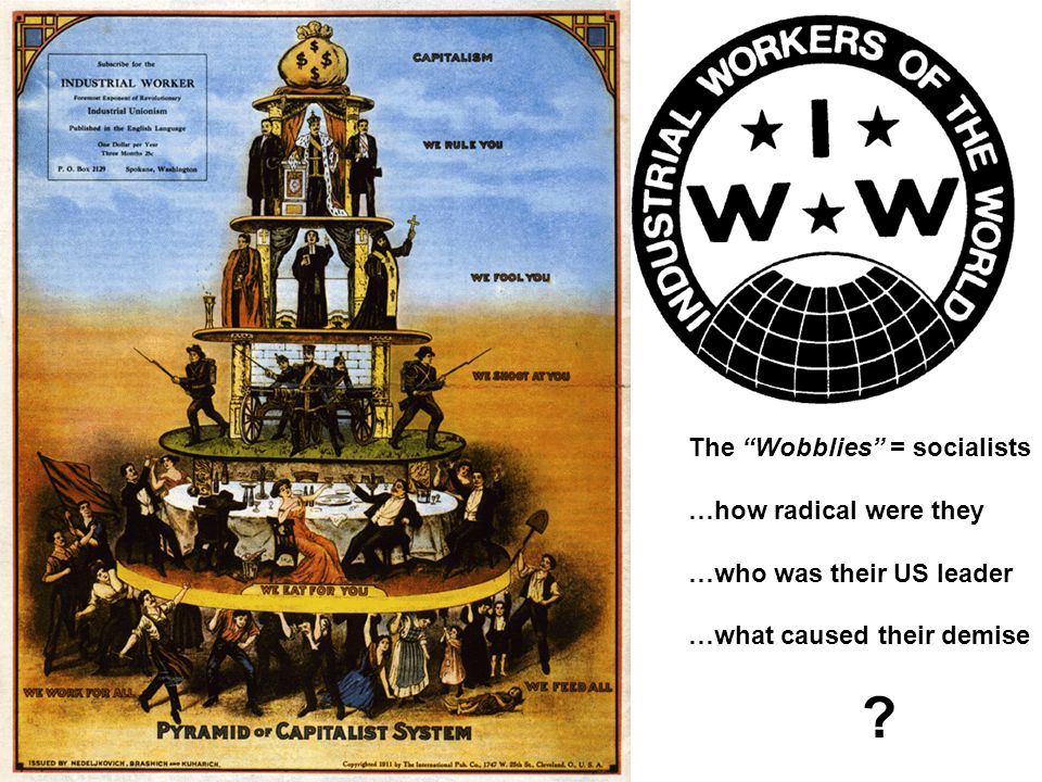 The Wobblies = socialists …how radical were they …who was their US leader …what caused their demise ?