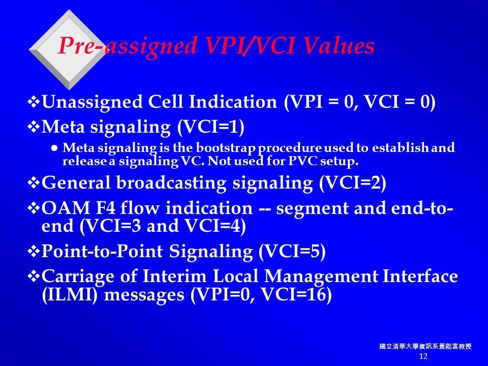 國立清華大學資訊系黃能富教授 12 Pre-assigned VPI/VCI Values  Unassigned Cell Indication (VPI = 0, VCI = 0)  Meta signaling (VCI=1) Meta signaling is the bootstrap procedure used to establish and release a signaling VC.