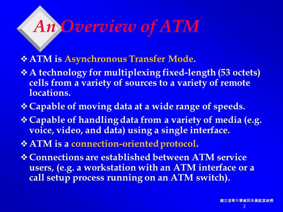 國立清華大學資訊系黃能富教授 2 An Overview of ATM  ATM is Asynchronous Transfer Mode.