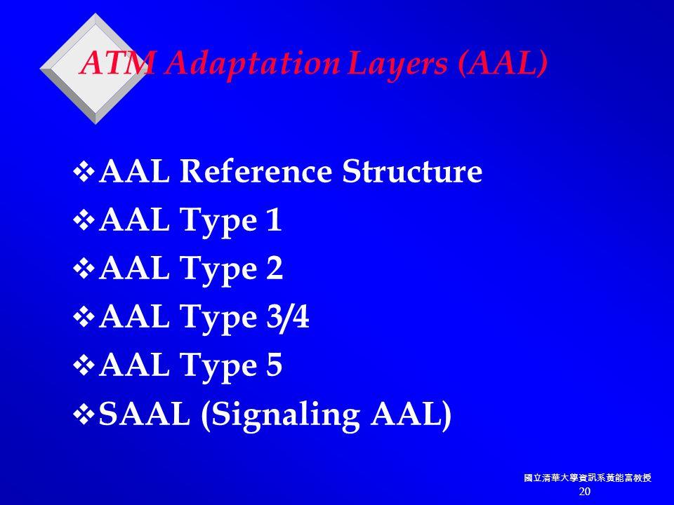 國立清華大學資訊系黃能富教授 20 ATM Adaptation Layers (AAL)  AAL Reference Structure  AAL Type 1  AAL Type 2  AAL Type 3/4  AAL Type 5  SAAL (Signaling AAL)