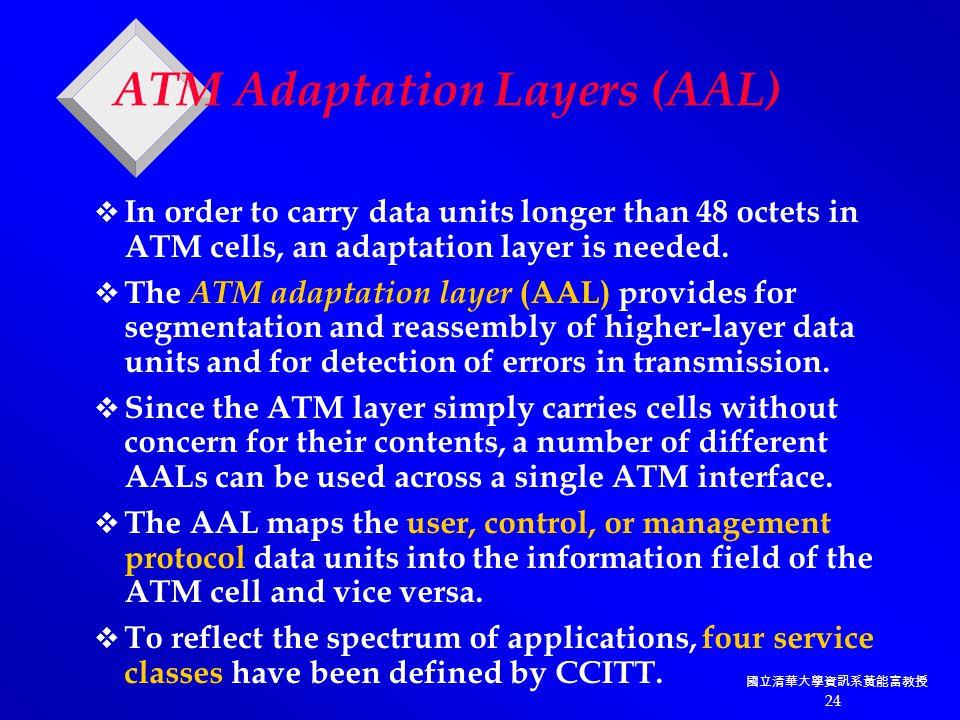 國立清華大學資訊系黃能富教授 24 ATM Adaptation Layers (AAL)  In order to carry data units longer than 48 octets in ATM cells, an adaptation layer is needed.