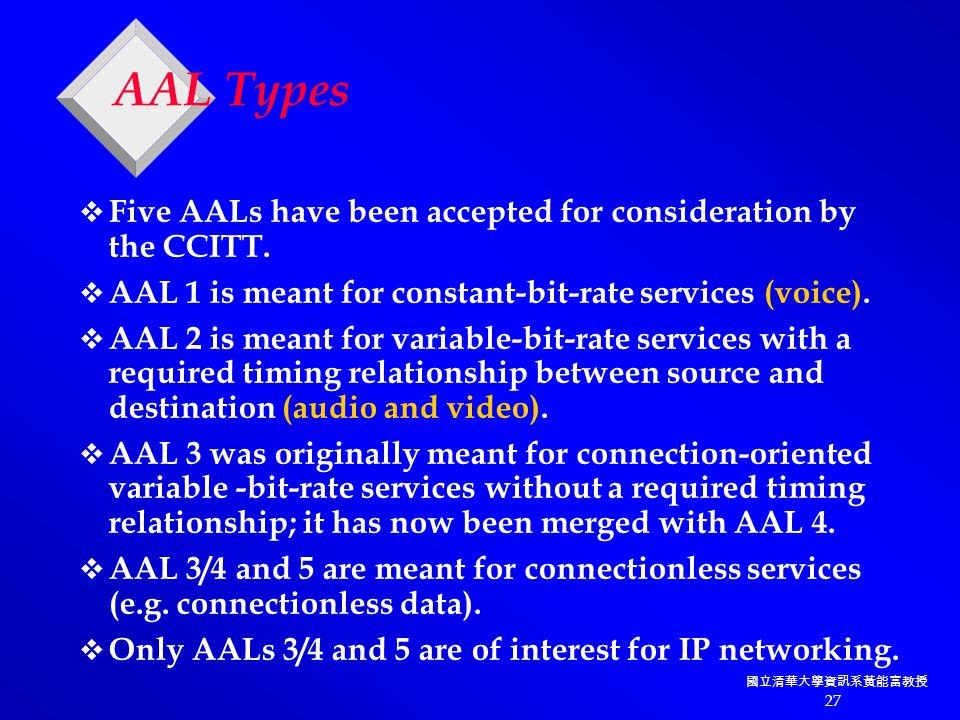 國立清華大學資訊系黃能富教授 27 AAL Types  Five AALs have been accepted for consideration by the CCITT.