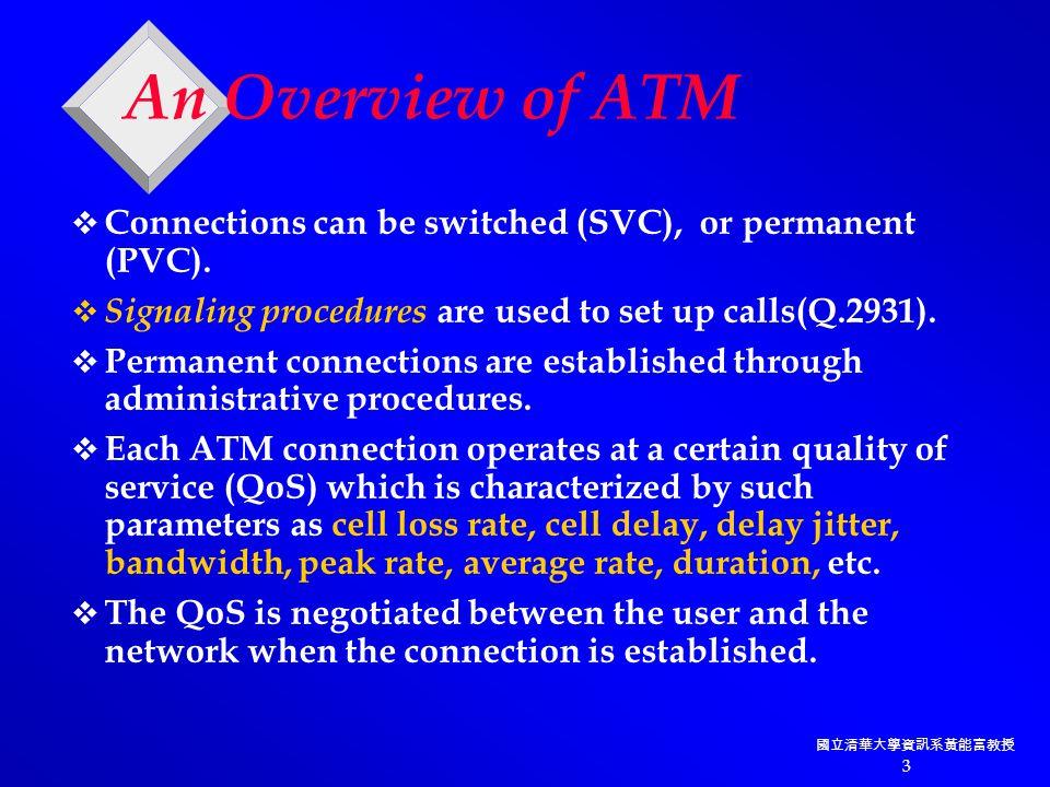 國立清華大學資訊系黃能富教授 3 An Overview of ATM  Connections can be switched (SVC), or permanent (PVC).