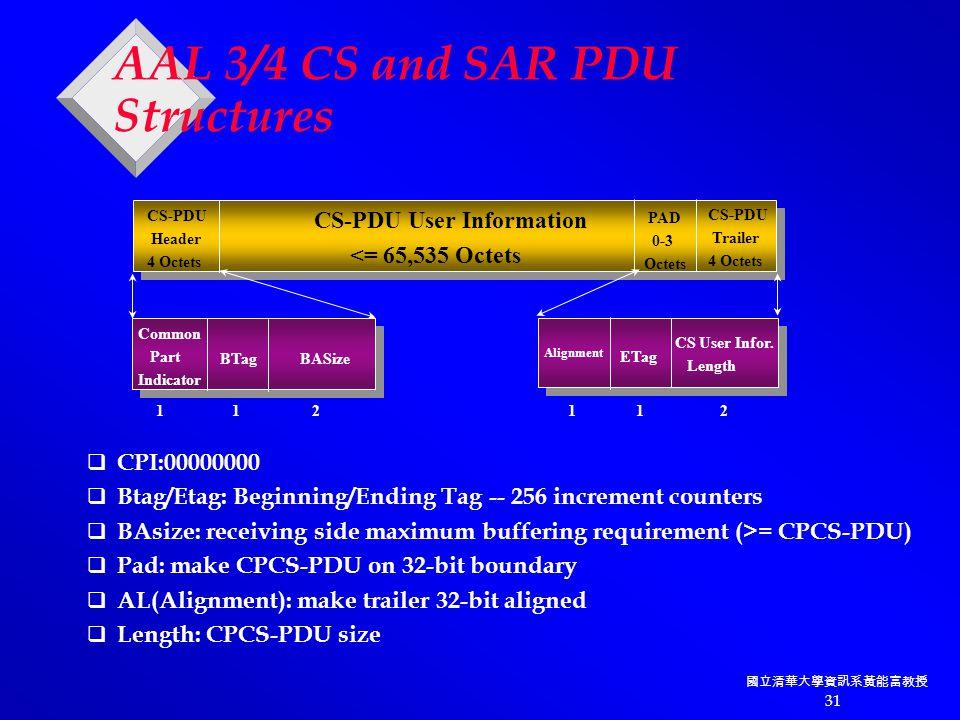 國立清華大學資訊系黃能富教授 31 AAL 3/4 CS and SAR PDU Structures CS-PDU Header 4 Octets CS-PDU User Information <= 65,535 Octets CS-PDU Trailer 4 Octets PAD 0-3 Octets Common Part Indicator BTag BASize Alignment CS User Infor.
