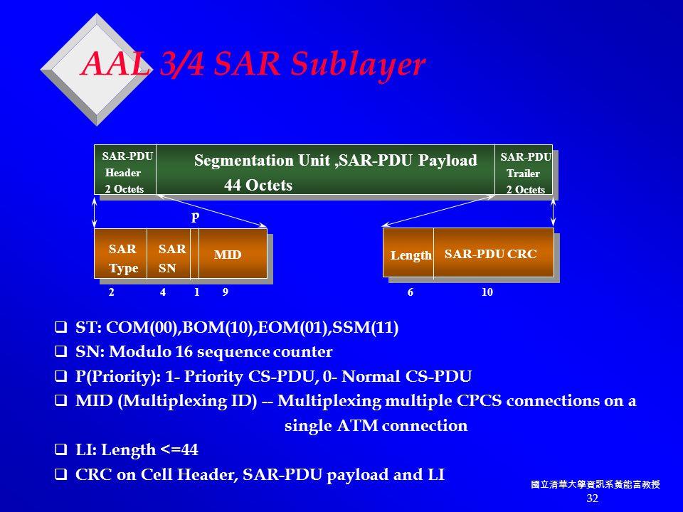 國立清華大學資訊系黃能富教授 32 AAL 3/4 SAR Sublayer SAR-PDU Header 2 Octets Segmentation Unit,SAR-PDU Payload 44 Octets SAR-PDU Trailer 2 Octets SAR Type Length SAR SN MID SAR-PDU CRC 2 4 1 9 6 10 p  ST: COM(00),BOM(10),EOM(01),SSM(11)  SN: Modulo 16 sequence counter  P(Priority): 1- Priority CS-PDU, 0- Normal CS-PDU  MID (Multiplexing ID) -- Multiplexing multiple CPCS connections on a single ATM connection  LI: Length <=44  CRC on Cell Header, SAR-PDU payload and LI