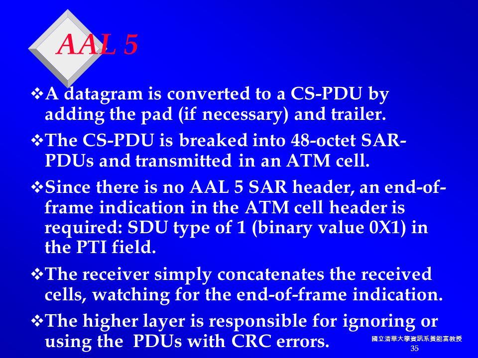 國立清華大學資訊系黃能富教授 35 AAL 5  A datagram is converted to a CS-PDU by adding the pad (if necessary) and trailer.