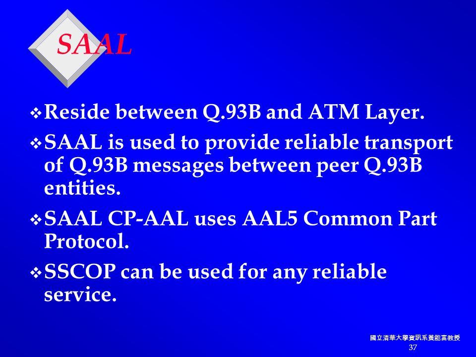國立清華大學資訊系黃能富教授 37 SAAL v Reside between Q.93B and ATM Layer.