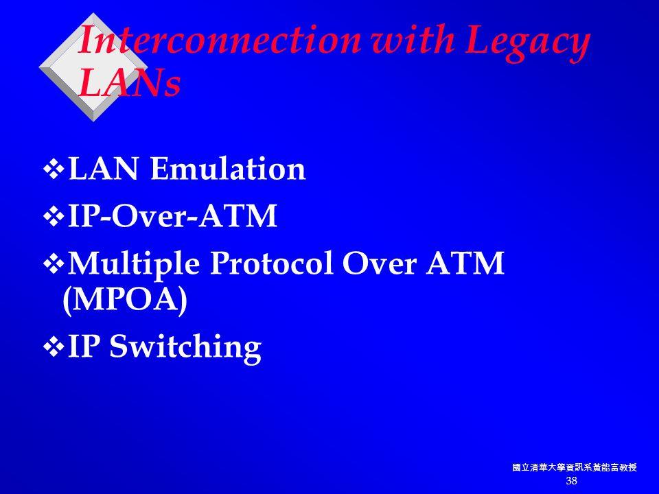 國立清華大學資訊系黃能富教授 38 Interconnection with Legacy LANs  LAN Emulation  IP-Over-ATM  Multiple Protocol Over ATM (MPOA)  IP Switching