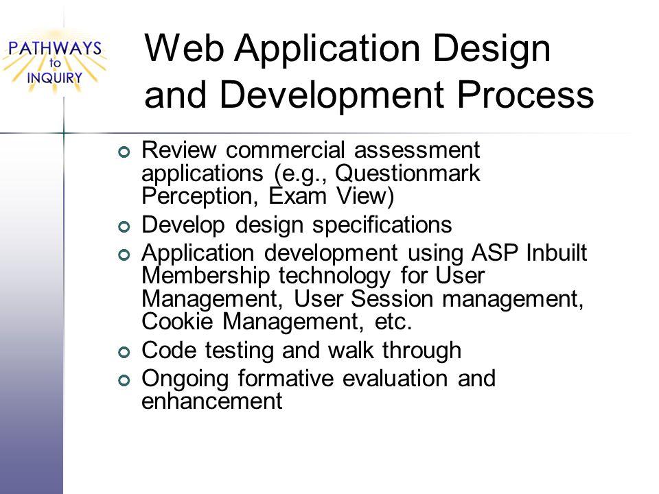Web Application Design and Development Process Review commercial assessment applications (e.g., Questionmark Perception, Exam View) Develop design spe