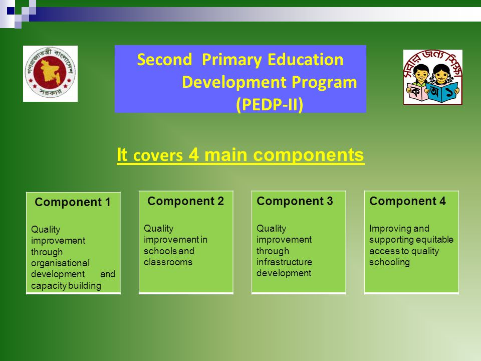Second Primary Education Development Program (PEDP-II) It covers 4 main components Component 1 Quality improvement through organisational development and capacity building Component 4 Improving and supporting equitable access to quality schooling Component 3 Quality improvement through infrastructure development Component 2 Quality improvement in schools and classrooms