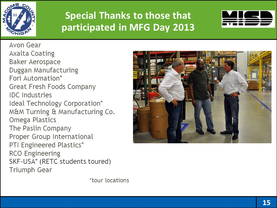 Special Thanks to those that participated in MFG Day 2013 Avon Gear Axalta Coating Baker Aerospace Duggan Manufacturing Fori Automation* Great Fresh F