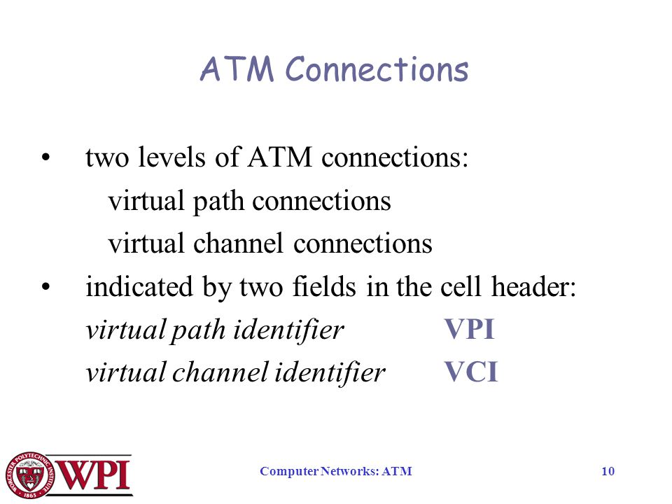 Computer Networks: ATM10 ATM Connections two levels of ATM connections: virtual path connections virtual channel connections indicated by two fields in the cell header: virtual path identifier VPI virtual channel identifierVCI