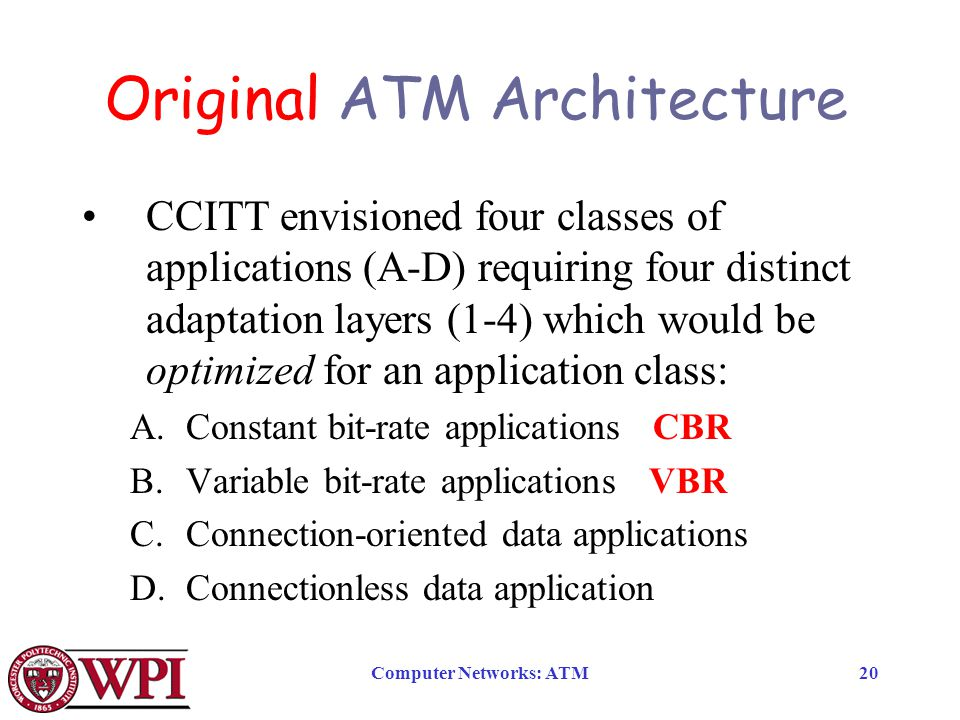 Computer Networks: ATM20 Original ATM Architecture CCITT envisioned four classes of applications (A-D) requiring four distinct adaptation layers (1-4) which would be optimized for an application class: A.Constant bit-rate applications CBR B.Variable bit-rate applications VBR C.Connection-oriented data applications D.Connectionless data application