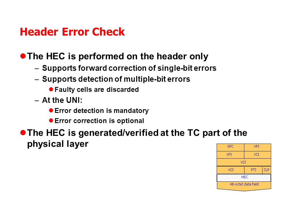Header Error Check The HEC is performed on the header only –Supports forward correction of single-bit errors –Supports detection of multiple-bit errors Faulty cells are discarded –At the UNI: Error detection is mandatory Error correction is optional The HEC is generated/verified at the TC part of the physical layer 48-octet data field VPI VCI CLP GFC PTI HEC