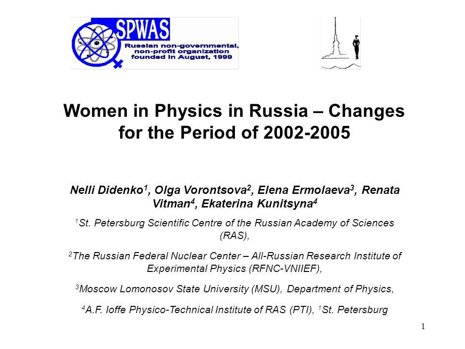 1 Women in Physics in Russia – Changes for the Period of 2002-2005 Nelli Didenko 1, Olga Vorontsova 2, Elena Ermolaeva 3, Renata Vitman 4, Ekaterina K