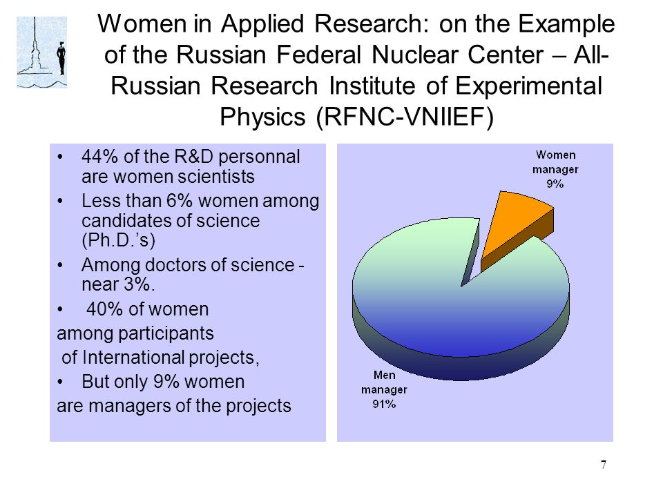 7 Women in Applied Research: on the Example of the Russian Federal Nuclear Center – All- Russian Research Institute of Experimental Physics (RFNC-VNIIEF) 44% of the R&D personnal are women scientists Less than 6% women among candidates of science (Ph.D.'s) Among doctors of science - near 3%.
