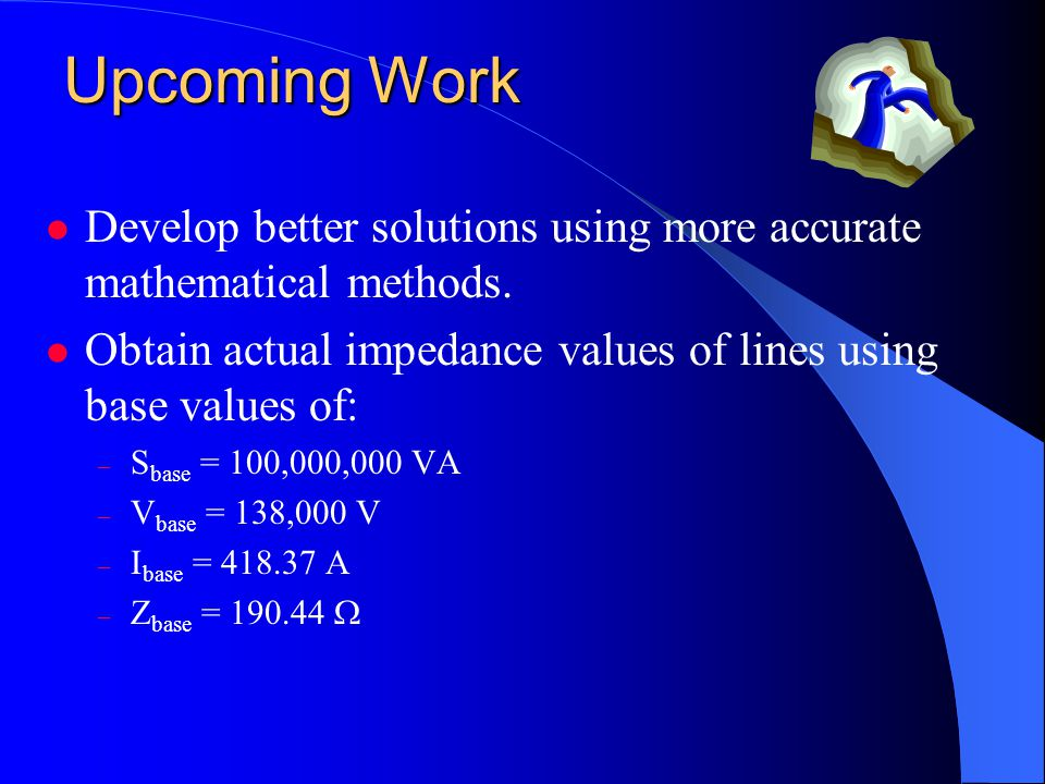 Upcoming Work Develop better solutions using more accurate mathematical methods.