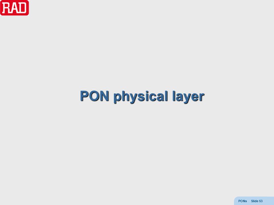 PONs Slide 53 PON physical layer