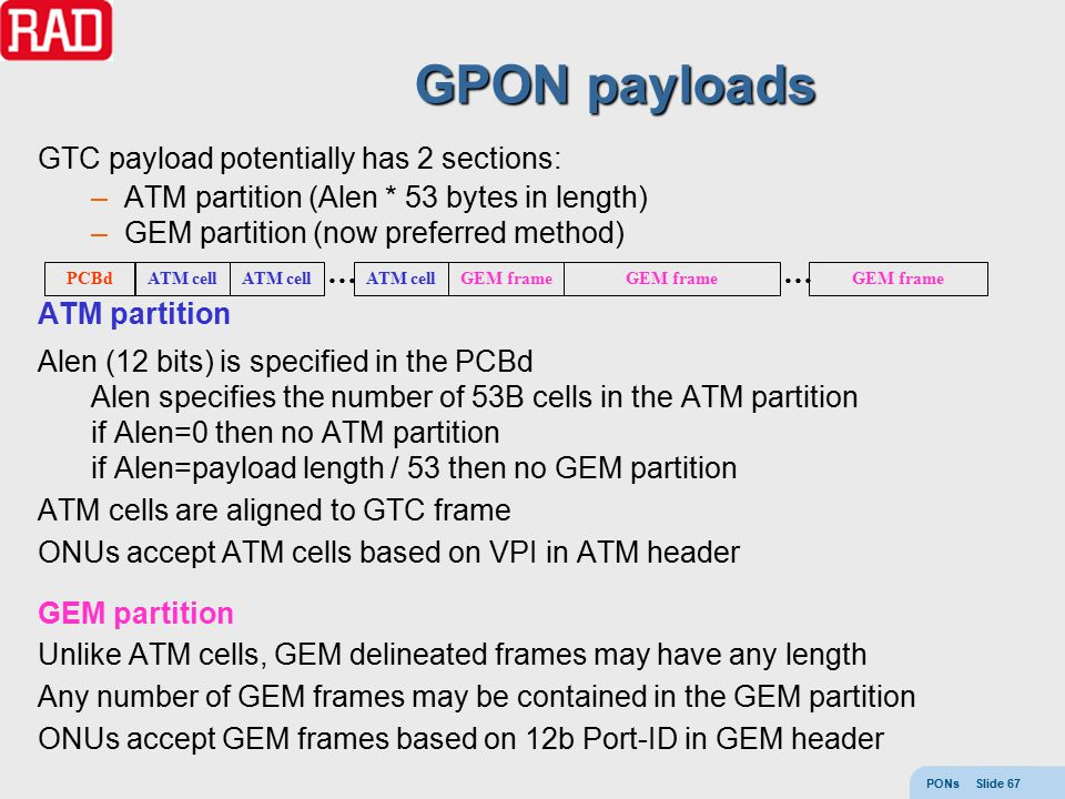 PONs Slide 67 GPON payloads GTC payload potentially has 2 sections: –ATM partition (Alen * 53 bytes in length) –GEM partition (now preferred method) A