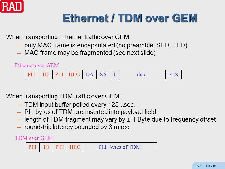 PONs Slide 69 Ethernet / TDM over GEM When transporting Ethernet traffic over GEM: –only MAC frame is encapsulated (no preamble, SFD, EFD) –MAC frame may be fragmented (see next slide) When transporting TDM traffic over GEM: –TDM input buffer polled every 125  sec.