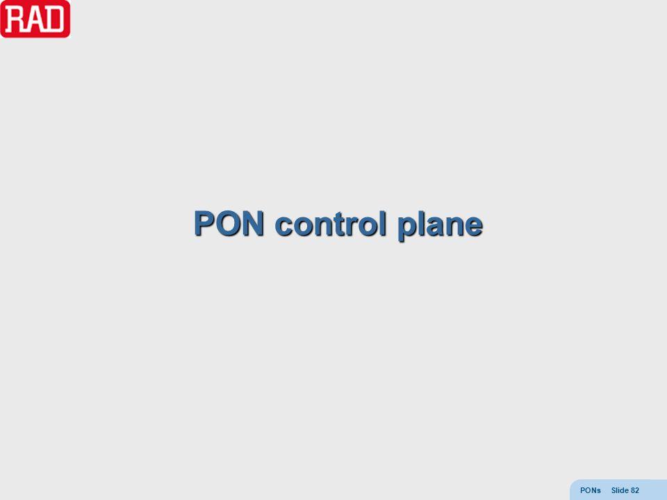 PONs Slide 82 PON control plane