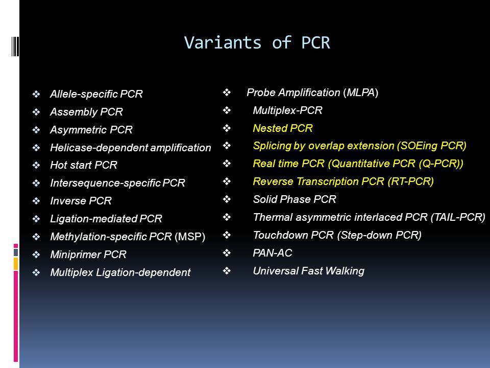 Variants of PCR  Allele-specific PCR  Assembly PCR  Asymmetric PCR  Helicase-dependent amplification  Hot start PCR  Intersequence-specific PCR
