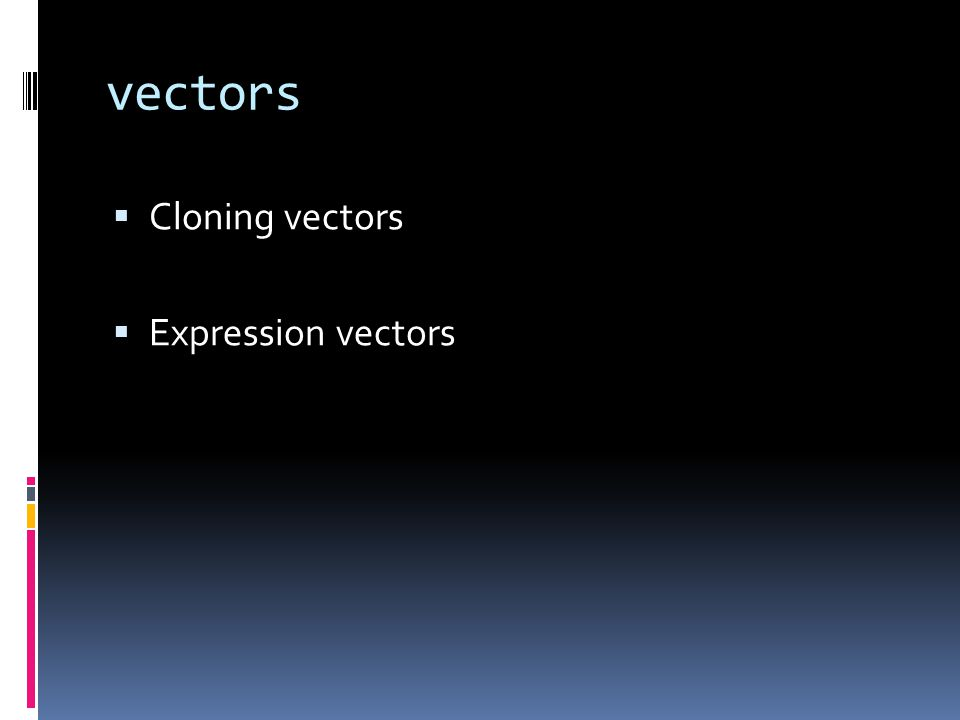 vectors  Cloning vectors  Expression vectors