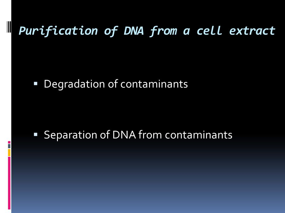 Purification of DNA from a cell extract  Degradation of contaminants  Separation of DNA from contaminants