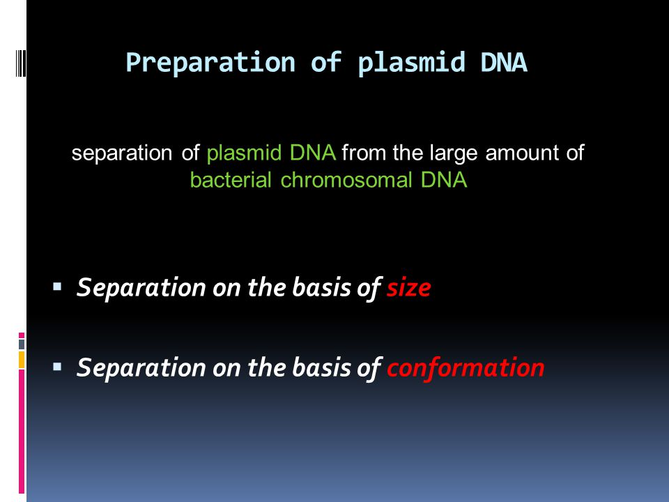 Preparation of plasmid DNA  Separation on the basis of size  Separation on the basis of conformation separation of plasmid DNA from the large amount