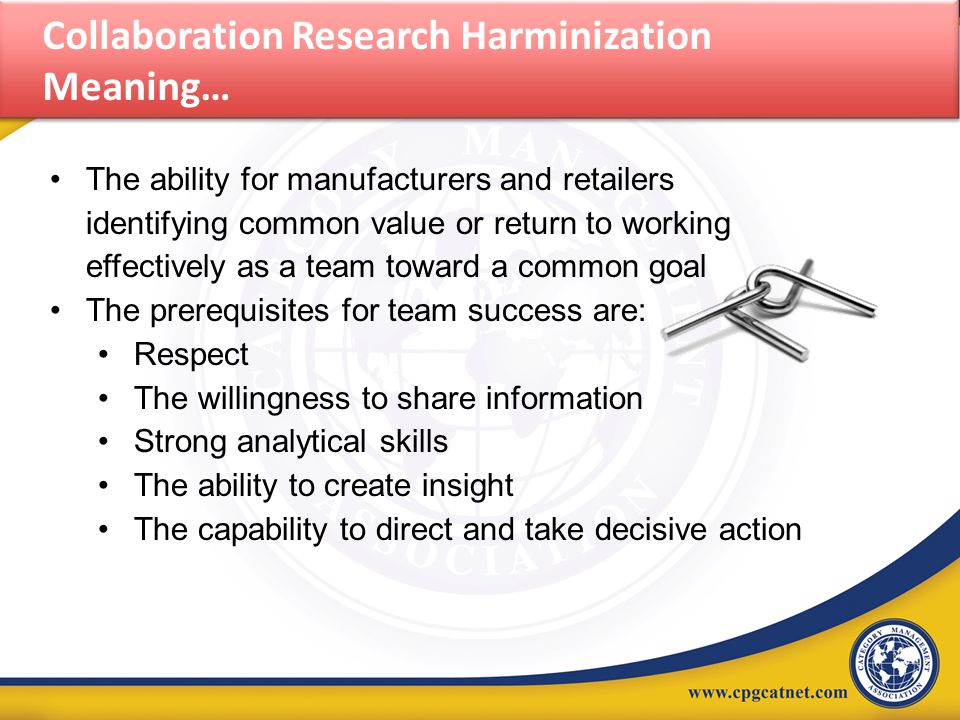 Collaboration Research Harminization Meaning… The ability for manufacturers and retailers identifying common value or return to working effectively as