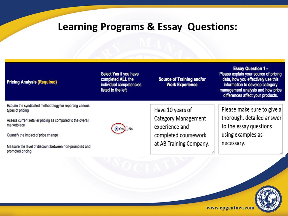 Learning Programs & Essay Questions:
