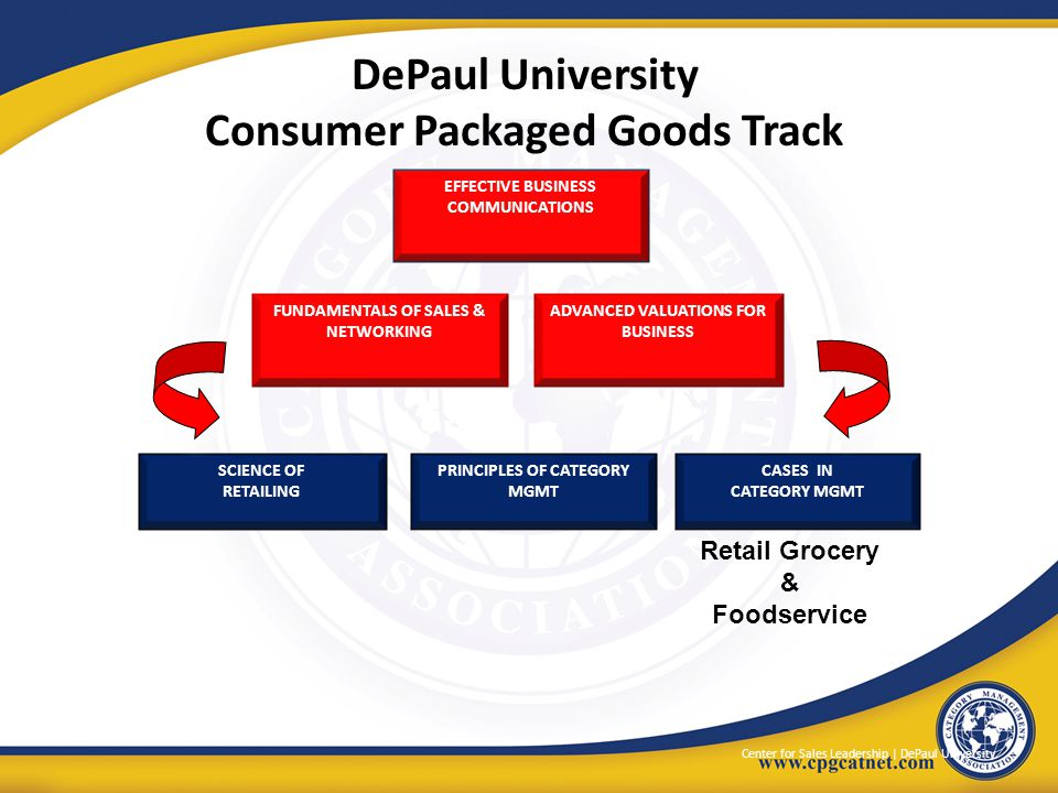 DePaul University Consumer Packaged Goods Track ADVANCED VALUATIONS FOR BUSINESS FUNDAMENTALS OF SALES & NETWORKING EFFECTIVE BUSINESS COMMUNICATIONS