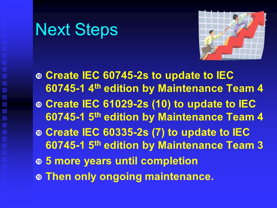 Currently IEC 60745-1 Edition 5 Incorporates IEC 61029 & IEC 60335 Committee Draft (CD) just released Saves manpower Saves time Easier to maintain Aligns with EN and manufacturer's interest