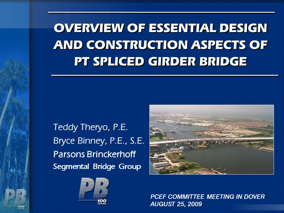 Deck Replaceability Design Strategy for Deck Replacement Use light weight Concrete Deck Use Precast Deck Panel (ABC) Stress all tendons prior to deck placement Add temporary / permanent straight top tendon Deck and girder is a composite section for SDL and LL (no prestress in the deck section)
