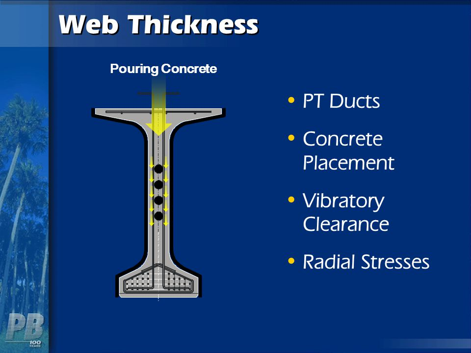 Web Thickness PT Ducts Concrete Placement Vibratory Clearance Radial Stresses Pouring Concrete