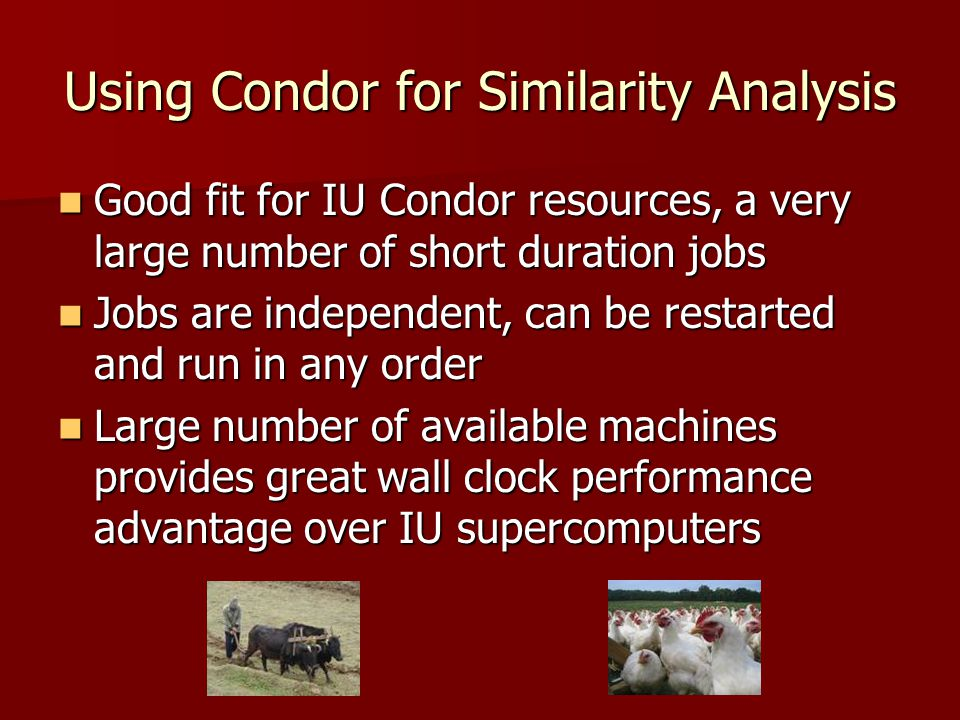 Using Condor for Similarity Analysis Good fit for IU Condor resources, a very large number of short duration jobs Good fit for IU Condor resources, a very large number of short duration jobs Jobs are independent, can be restarted and run in any order Jobs are independent, can be restarted and run in any order Large number of available machines provides great wall clock performance advantage over IU supercomputers Large number of available machines provides great wall clock performance advantage over IU supercomputers