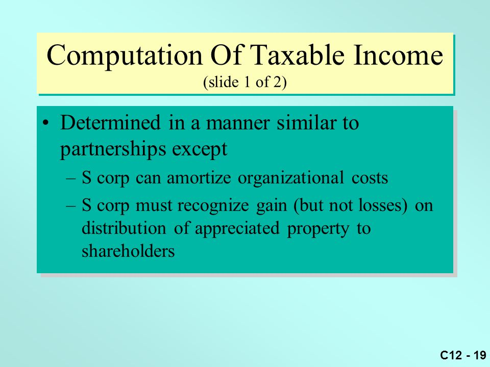 C12 - 19 Computation Of Taxable Income (slide 1 of 2) Determined in a manner similar to partnerships except –S corp can amortize organizational costs –S corp must recognize gain (but not losses) on distribution of appreciated property to shareholders Determined in a manner similar to partnerships except –S corp can amortize organizational costs –S corp must recognize gain (but not losses) on distribution of appreciated property to shareholders