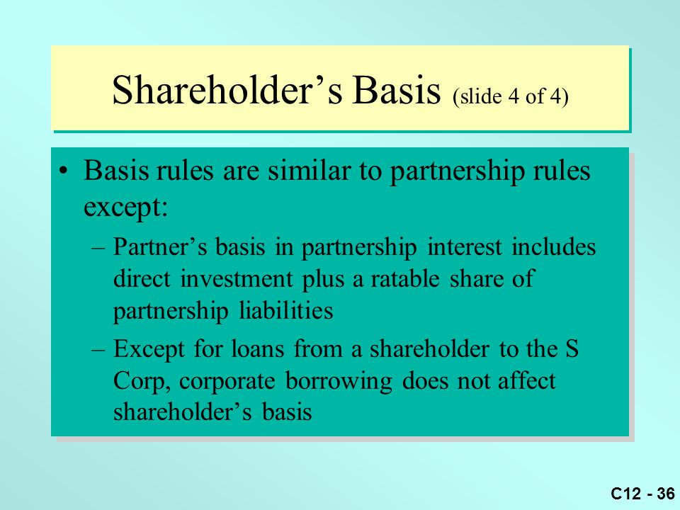 C12 - 36 Shareholder's Basis (slide 4 of 4) Basis rules are similar to partnership rules except: –Partner's basis in partnership interest includes direct investment plus a ratable share of partnership liabilities –Except for loans from a shareholder to the S Corp, corporate borrowing does not affect shareholder's basis Basis rules are similar to partnership rules except: –Partner's basis in partnership interest includes direct investment plus a ratable share of partnership liabilities –Except for loans from a shareholder to the S Corp, corporate borrowing does not affect shareholder's basis