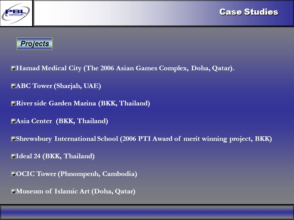 Products & R&DCertificationConclusionFactoryExport OutreachPBL Export Vision Projects Case Studies Hamad Medical City (The 2006 Asian Games Complex, Doha, Qatar).