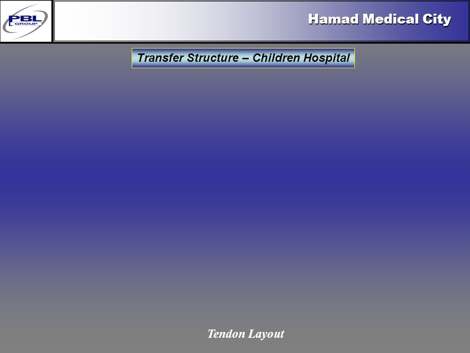 Products & R&DCertificationConclusionFactoryExport OutreachPBL Export Vision Hamad Medical City Transfer Structure – Children Hospital Tendon Layout
