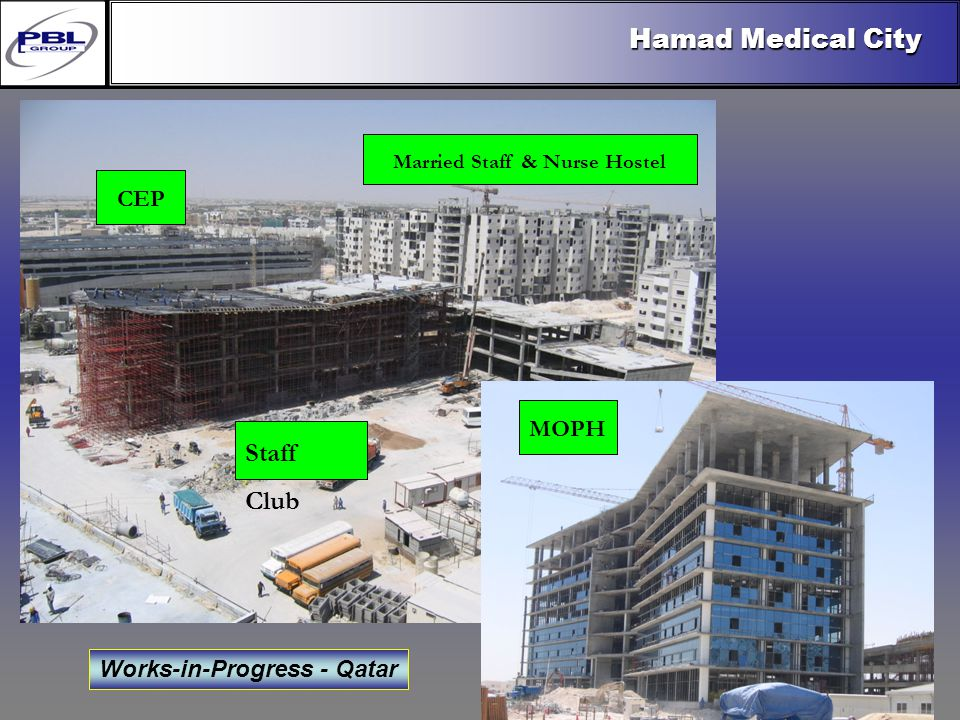 Products & R&DCertificationConclusionFactoryExport OutreachPBL Export Vision Works-in-Progress - Qatar Hamad Medical City Staff Club MOPH CEP Married Staff & Nurse Hostel
