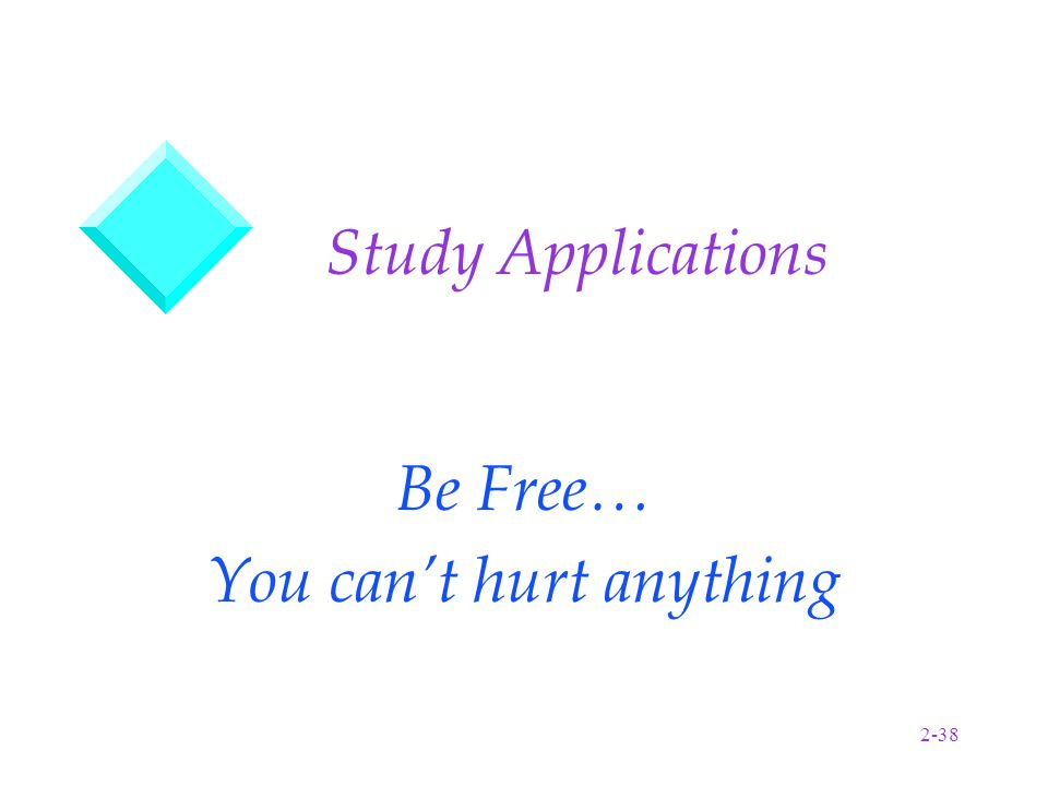 2-38 Study Applications Be Free… You can't hurt anything