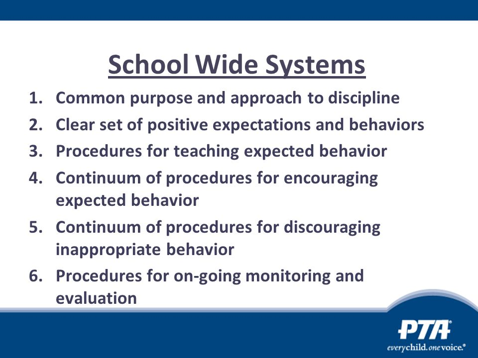 School Wide Systems 1.Common purpose and approach to discipline 2.Clear set of positive expectations and behaviors 3.Procedures for teaching expected