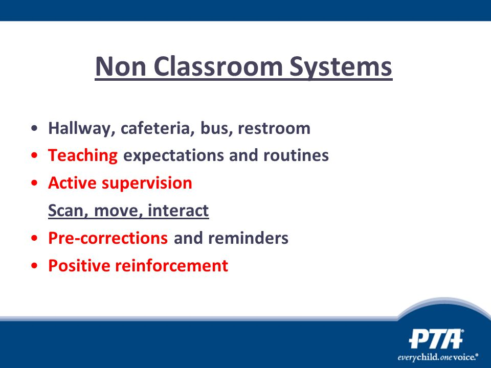 Non Classroom Systems Hallway, cafeteria, bus, restroom Teaching expectations and routines Active supervision Scan, move, interact Pre-corrections and
